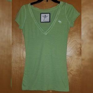 Abercrombie Light Green Knit V-Neck T-Shirt